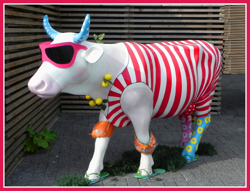 Funny cow visiting the Floreade in Holland